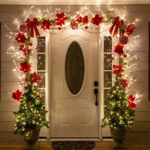 Lighted, branches, decor, details, arch, home, decorate, red, green